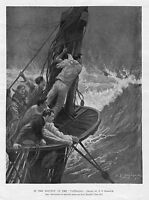 SAILORS IN THE MAINTOP OF THE VANDALIA SHIPS SAILING IN STORM NAVY NAUTICAL