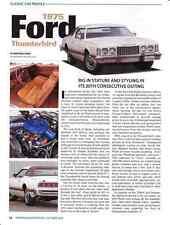 1975 FORD THUNDERBIRD  ~  NICE CLASSIC CAR PROFILE ARTICLE / AD