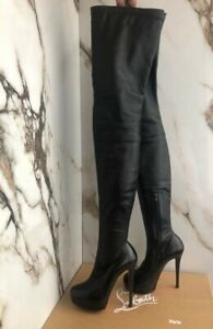 Christian Louboutin Thigh High Over the knee boots Stretch Leather Black size 36
