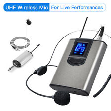 Wireless LCD Display Headset Lapel Microphone Rechargeable UHF For Live Events