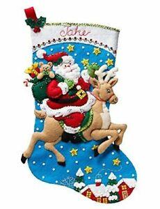 "18"" Bucilla Reindeer Santa Felt Christmas Stocking & Ornament Kit"