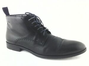 HUGO BOSS Dress Ankle Boots Black Genuine Leather Italy Men's US 9 EU 42 $525