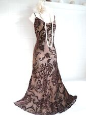 PHASE 8 Eight Vintage 1920's 30s Velvet Deco Bead Sequin Charleston Gatsby Dress