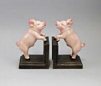 9937735 Fundición de Hierro Figura Soporte Libros Cerdito Cerdo Colorido