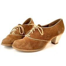 8.5 Vintage 1940s Brown Cream Suede Cuban Heel Oxford Spectator Shoes 40s