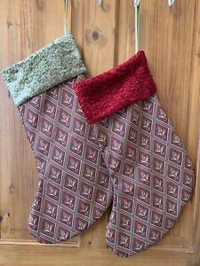 Laura Ashley Fabric & Green Chenille Velvet Christmas Stocking