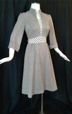 BOHO MINIMALIST Striped Taupe Vintage 1970s  Jerell of Texas SECRETARY DRESS SM