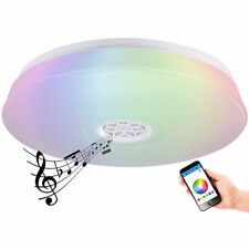 Luminea RGBW-LED-Deckenleuchte, Lichtwecker, Lautsprecher, App, 1.500 lm, 24 W