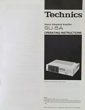 Technics SU-5A - Stereo Integrated Amplifier - Instructions - USER MANUAL
