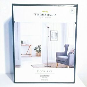 """Threshold Torch Floor Lamp 71"""" H Brushed Nickel Glass Shade, Bulb included"""
