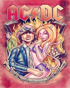 "10 x 8"" AC DC AUSTRALIAN ROCK BAND HEAVY METAL MUSIC GROUP METAL PLAQUE SIGN 504"