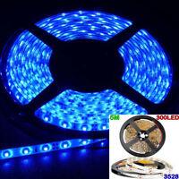 Blue 5M Waterproof 300 LED 3528 SMD Flexible LED Light Lamp Strip DC12V Car Auto