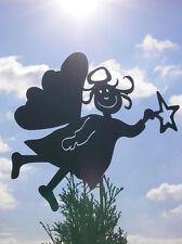 ENGEL Irmi mit Stern Doppelflügel Gartenstecker Rost Edelrost Metall Figur