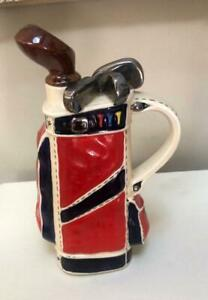Vintage Golf Bag Ceramic Decanter & Music Box ~Excellent & Unique!