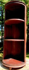 VTG Wood Shelf 3Tier ROUND Shelf Display Knick Knack Cottage Core ART DECO