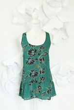 CAbi Floral Peplum Top Blouse Sleeveless Women's M Green Flowy Career
