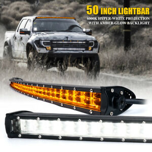 Xprite 288W 50 Inch LED Curved Light Bar w/ Amber Backlight Driving Work Lamp