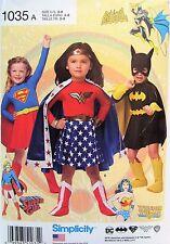 Children's Costumes Girls Simplicity 1035 Super Heroes Wonder Woman Super Girl B