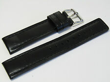 20mm Hadley-Roma MS784 Mens Black Oil-Tan Waterproof Leather Watch Band Strap