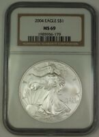 2004 American Silver Eagle Coin ASE NGC MS-69 Near Perfect GEM
