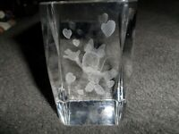 Minnie Mouse  With Hearts Laser Etched Crystal Paperweight