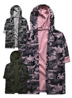 Girls New Hooded Camo Cardigan Kids 3/4 Sleeve Jacket Top Pink Grey  3 -12 Years