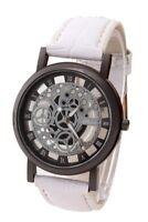 3X(Damen Herren Skelett Uhr Kunstleder Armband Analog Quarz Armbanduhr Sport)SA