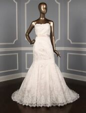 Allure Bridal 9117 Champagne Strapless Trumpet Size 14 Lace Wedding Dress