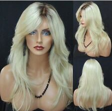 US Stock Women Synthetic Long Straight Hair Ombre Blonde Dark Root Full Wig