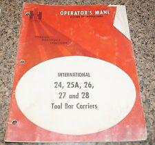 International Harvester 24,25A,26,27 & 28 Tool Bar Carriers Operator's Manual