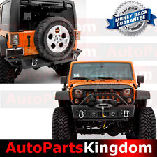 "Stubby Front Bumper+Rear Bumper W/2"" Receiver Hitch For 07-17 Jeep JK Wrangler"