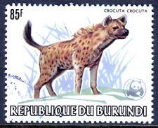 BURUNDI — SCOTT 601a — 1983 WWF WILDLIFE OVPT — 80F HYENA — USED — SCV $100