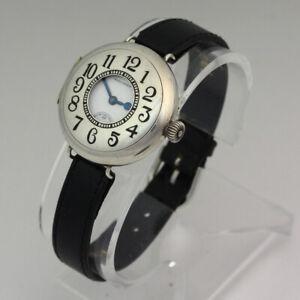 Waltham 361 Manual Unique Sterling Silver & Enamel Demi Hunter Trench Wristwatch