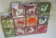 Antique Wooden Blocks Animals Set of Eleven