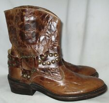 Brown Croc/Studs SONORA DOUBLE H HH Engineer Harness Western Ankle Boots 6 B