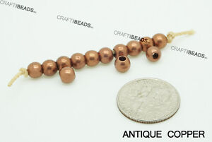 5mm Round Seamless Solid Brass Spacer Beads - Silver Gold Antique Copper Bronze
