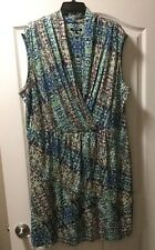 Nic And Zoe Plus Size 2X Faux Wrap Printed Dress, NWOT