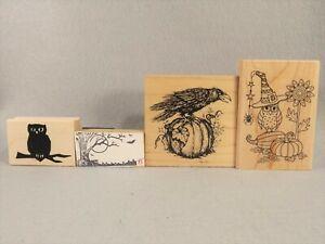 Halloween Fall Rubber Stamps Pumpkins Owls Raven PSX Hampton Arts Mixed Lot of 4