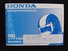 GENUINE 1992 HONDA 1100 VT1100C SHADOW MOTORCYCLE OPERATORS MANUAL VERY GOOD
