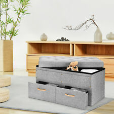 Folding Storage Ottoman with Two Drawers Foot Rest Stool Home Living Room