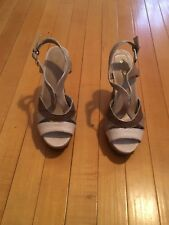 Sbicca Cork Wedge Sz 7 Summer Sandal Brown Pre Owned