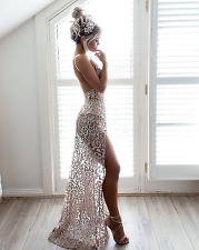 Gold Glitter Sequin Plunge Backless Maxi Dress Boutique Size XS-L Celeb Style