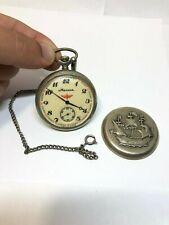 Vintage Molnija Ship USSR Pocket Watch Soviet molnia 3602 Mechanical open face