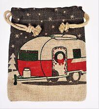 Retro RV Camper Camping Casita Trailer Christmas Bag Jute Burlap Drawstring 8x10