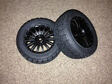 NEW KYOSHO DRX DEMON, 2 x BLACK WHEELS & PREGLUED RALLY TYRES, 12mm HEX TRT121
