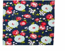 """Vintage STYLE Kitchen Towel Fabric Moda Good Life Navy Flowers 16""""  920 271 BTY"""
