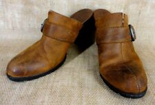 B.O.C BORN CONCEPT WOMEN CLOGS MULES BROWN LEATHER HIGH HEELS SIZE 10/42 M/W