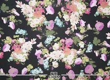 Aus Stock PER METER Purple Black Multi-colored Floral Silk Nylon Elastane Fabric