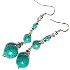 Long Turquoise Gemstone Earrings Pierced or Non-Pierced Clip Stud or 925 Silver