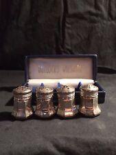 Boxed El Sil Co ( Elgin) 4 Mini Sterling Salt Shakers - Bullock'S Wilshire